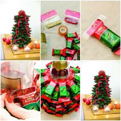 How to make Christmas Tree with Chocolate Bars DIY tutorial instructions, How to, how to do, diy instructions, crafts, do it yourself, diy website, art project ideas