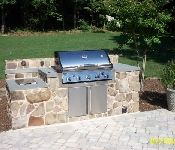 Grill with Stone Facing and Patio, Lothian Outdoor Patio Pavers, Front Door Steps, Landscape Services, Curb Appeal, Retaining Walls, Backyards, Gallery, Garden, Outdoor Decor