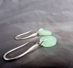 Horizon sea glass earrings in seafoam green