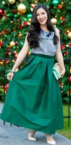 green maxi skirt for holiday party