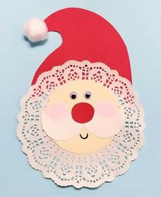 Kids can make a doily santa decoration using a few simple craft materials! Use this as a fun group craft project or a one-on-one activity. To make this craf Kids Crafts, Arts And Crafts For Teens, Santa Crafts, Christmas Crafts For Kids To Make, Christmas Card Crafts, Preschool Christmas, Noel Christmas, Arts And Crafts Projects, Preschool Crafts