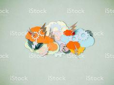 Brainstorming, Papier schneiden Stil Lizenzfreies stock-foto