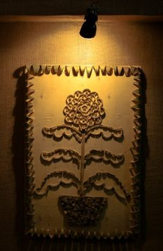 This flower is made with a piece of bamboo for a durga puja festival to decorate the pandal in Kolkata,India.