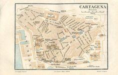 Cartagena Vintage City Map Street Plan by CarambasVintage City Maps, 1920s, Vintage World Maps, Spain, How To Plan, Street, Etsy, Cartagena, Walkway