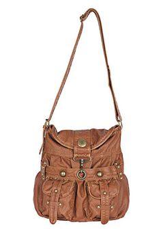 Brown one strap shoulder bag, big enough for school