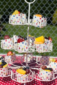 Fruit in colorful baking cups A Pool Party Bash | CatchMyParty.com