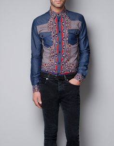 PRINTED SHIRT WITH DENIM POCKETS AND SLEEVES