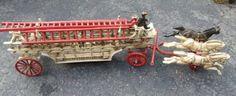ARCADE CAST IRON HOOK & LADDER FIRE TRUCK 19th c. : Lot 226