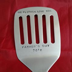 i flip for you hand stamped spatula fathers day gift by TiffysLove
