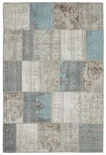 light blue, taupe, white patchwork trend rug. DesignNashville.com shipping to you