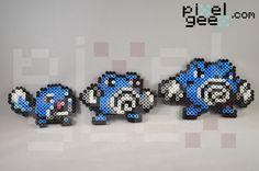 Perler bead sprites by Perler Geex of Pokemon evolution: Poliwag, Poliwhirl, and Poliwrath http://www.pixelgeex.com/pokemon/