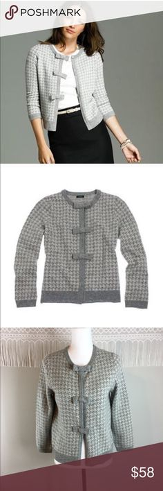 J.Crew NWT Houndstooth Bow-Button Cardigan J.Crew Houndstooth Bow-Button Cardigan. Size medium. Approximate measurements flat laid are 22' long, 18' bust, and 20 sleeves from collar. NWT and no major flaws. ❌I do not Trade  Or model Posh Transactions ONLY J. Crew Sweaters Cardigans