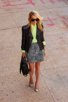 Let personal style shine through at the office by pairing a bright neon blouse with neutrals.