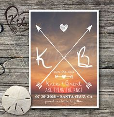 PRINTABLE: Save The Date Wedding Announcement Ocean Sunset (digital PDF)