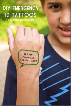 Emergency Safety Children's Temporary Tattoos! These are great. It's just the part of application that is still tricky with Mr. P. But once its on, it stays put. Rubbing can only do so much. Still, its a great thing :)