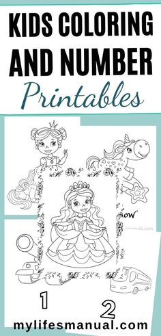 Grab these kids printables that include coloring and number pages for your girls and boys. Truck and cars coloring and numbers printables for boys and princesses and unicorns for girls. #kids #kidscoloring #kidsnumbers #kidsprintables #numbers #kidsactivities Coloring Pages For Boys, Colouring Pages, Printable Coloring Pages, Color Activities, Learning Activities, Activities For Kids, Princess Activities, Numbers For Kids, Printable Numbers