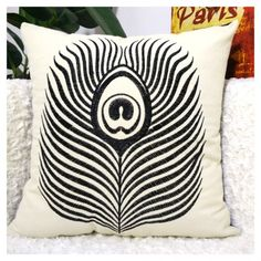 Black Pea Feather Embroidered Throw Pillows For Couch Modern Minimalist Style Fashion Sofa Cushions Make Your Home More Beautiful