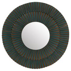 Showcasing a round silhouette and gold-hued finish, this eye-catching wall mirror lends visual appeal above your living room sofa or mantel....