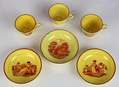 (lot of 6) Group of English tea cups and saucers, each having transferware decoration on a yellow ground, consisting of a pair of Se... - Price Estimate: $300 - $500