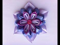 Цветок Канзаши в фиолетово-сиреневой гамме. - YouTube