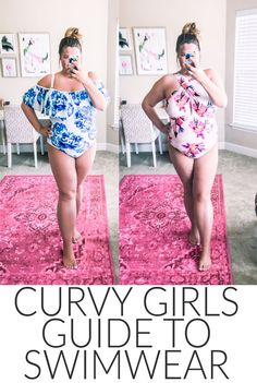 Curvy girls guide to swimwear- best swimsuits for curvy or chesty girls Plus Size Bikini Bottoms, Women's Plus Size Swimwear, Curvy Swimwear, Trendy Swimwear, One Piece Swimwear, Large Bust Swimsuit, Swimsuit For Body Type, Swimsuit For Moms, Flattering Swimsuits