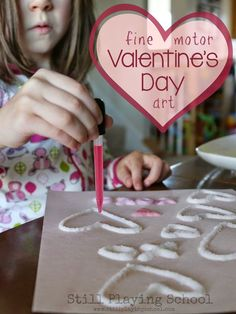 Fine Motor Valentine's Day Art: Salt and Glue Watercolor Hearts from Still Playing School