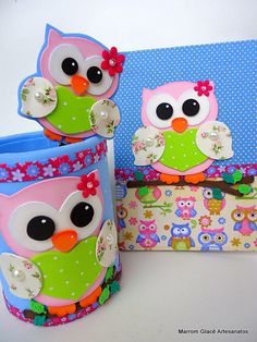 Foam Crafts, Diy And Crafts, Arts And Crafts, Paper Crafts, Diy For Kids, Crafts For Kids, Kids Art Class, Felt Owls, Baby Girl First Birthday