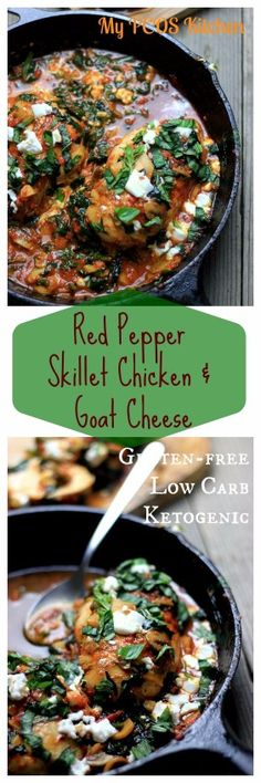 Gluten-free/Low Carb Grilled Chicken Breasts in a creamy red pepper 'nomato' sauce topped with goat cheese! Sub chicken thighs Lunch Recipes, Healthy Dinner Recipes, Healthy Food, Banting Recipes, Ketogenic Recipes, Ketogenic Diet, Pcos Diet, Diet Foods, Paleo Recipes