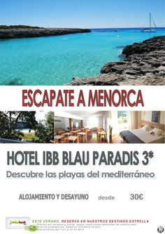 ¡Chollo en Menorca htl IBB Blau Paradis 3* dsd 30€ pax/día en AD! ultimo minuto - http://zocotours.com/chollo-en-menorca-htl-ibb-blau-paradis-3-dsd-30e-paxdia-en-ad-ultimo-minuto/