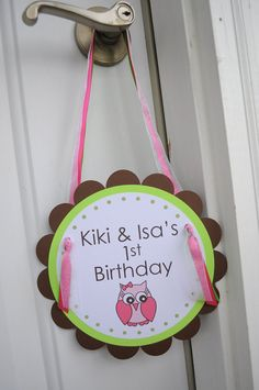 """""""Have to make this 1st Birthday Party Door Sign for the door to the club, along with putting out the yard sign"""""""