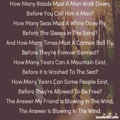 #BlowingInTheWind#BobDylan#Song#Lyrics#Touching#Words#FollowBack@TuneWiki
