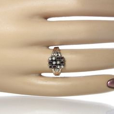 #Victorian Rose Cut Garnet And Pearl Ring 10K by #GregDeMarkJewelry