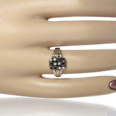 #Victorian Rose Cut Garnet And Pearl Ring 10K by #GregDeMarkJewelry