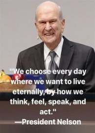 """""""We choose every day where we want to live eternally by how we think, feel, speak, and act."""" ~ Quotes by LDS President Russell M. Jesus Christ Quotes, Gospel Quotes, Lds Quotes, Religious Quotes, Uplifting Quotes, Quotable Quotes, Qoutes, Prophet Quotes, True Quotes"""