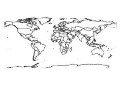 World Map Outline Coloring Page : Kids Play Color