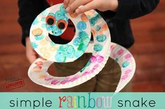 Toddler Approved!: Mom and Tot Craft Time: Simple Rainbow Snake (predraw snake lines and eyes, have kid color)