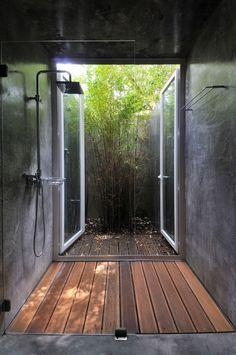 Indoor / outdoor shower