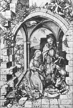 SCHONGAUER, Martin  The Nativity  c. 1470  Engraving, 257 x 171 mm  National Gallery of Art, Washington