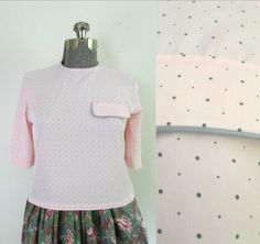 1980s Pink and Gray Polka Dot Blouse // Evan-Picone Silky Short Back Buttoned Top by rileybellavintage on Etsy https://www.etsy.com/listing/516296764/1980s-pink-and-gray-polka-dot-blouse