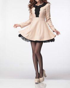 Apricot wool dress long sleeve dress maxi by fashionwomanstore, $69.00