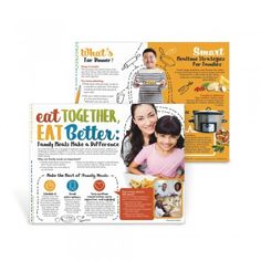 "Eat Together, Eat Better Family Meals Handouts    The Eat Together, Eat Better Family Meals Handouts offer practical solutions to help make family meals happen. The handout identifies the importance of family meals and how they impact a child's development, along with everything you need to make the meal happen: conversation starters, meal planning tips, and easy meal ideas.    8 ½"" x 11"", 50 sheets, 2-sided"