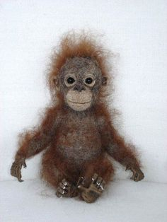 Needle Felted Baby Orangutan by Tamara111
