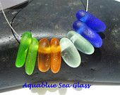 4 Pairs   Drilled Sea Glass  Pairs for Earrings  Cobalt Blue, Lime Green, Sea Foam And  Amber FREE SHIPPING (318)
