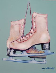 """""""My Old Skates"""" by JJ Galloway. Oil painting on Canvas, Subject: Still life, Impressionistic style, One of a kind artwork, Signed on the front, This artwork is sold unframed, Size: 40.64 x 50.8 x 5.08 cm (unframed), 16 x 20 x 2 in (unframed), Materials: stretched canvas and oil paint."""