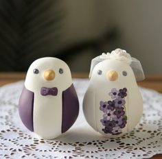 Purple suit and flowers lovebirds cake topper