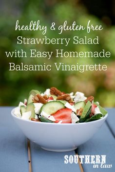 It is low fat, grain free, gluten free, egg free, low calorie and a clean e Salad Recipes For Parties, Salad Recipes For Dinner, Healthy Salad Recipes, Balsamic Vinaigrette Recipe, Strawberry Vinaigrette, Vinaigrette Dressing, Healthy Side Dishes, Food Allergies, Clean Eating Recipes