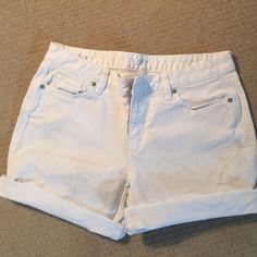 Loft white denim shorts size 8 Size 8 white denim shorts.  Roll up at the bottom. LOFT Shorts