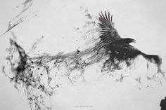 Raven Bird Flying Minimalism Smoke Art Abstract Black Gray BW WallpapersByte com Smoke Drawing, Smoke Art, Aquarell Tattoo Schwarz, Elf Rogue, Rauch Tattoo, Raven Flying, Bird Flying, Corvo Tattoo, Widder Tattoos