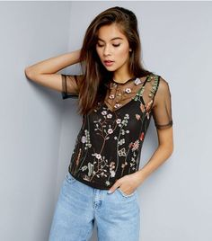 Black Floral Embroidered Mesh Top    New Look