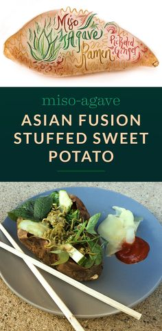 Asian Fusion Stuffed Sweet Potato With Miso Agave Dressing